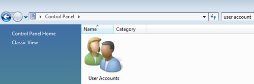 open user accounts in windows vista