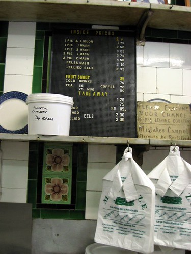 M. Manze's pie shop menu.  Straightforward.