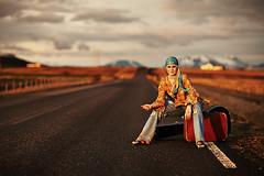 Week 18: Kolla (LalliSig) Tags: travel sunset portrait sky woman mountain girl fashion rural landscape iceland spring cool paw warm guitar pavement path highcontrast ground gaze blueribbonwinner colorphotoaward