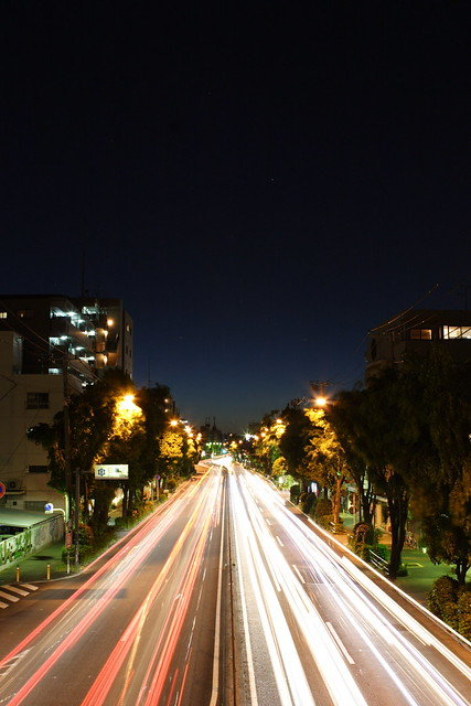 路面の光跡