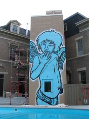 Mansion. Minneapolis. (Broken Crow) Tags: johngrider brokencrowcom minneapolis 24foottallstencil swimmingpool scaffolding spraypaint mural stencil largescalestencil giantstencil gargantuanstencil minnesota house pool blue mansion angel cherub