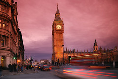 London traffic trails & Big Ben [Explored] (ryme-intrinseca) Tags: road pink sunset england people london westminster long exposure traffic trails housesofparliament parliament bigben busy