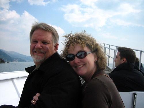 Jodi and Keith posing on the boat to Riomaggiore