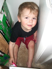 Silly boy in his closet during naptime 4/5/07