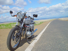 Sunday ride on peola rd (Doug Goodenough) Tags: cb550 honda motorcycle restoration caferacer cafebike scenic clouds sky ride engine douggoodenough drg531 07 2007 drg53107