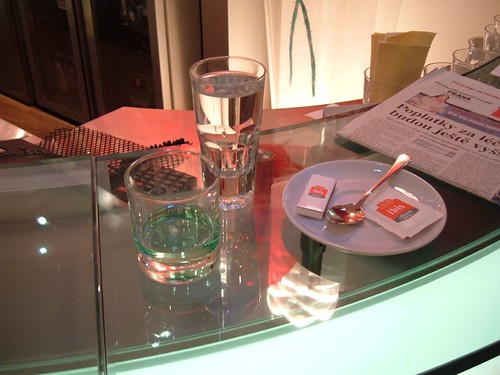 Absinthe ready to prepare at the Ibis Hotel bar, Prague