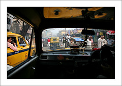 Inside the cab in Kolkata (yanseiler) Tags: world travel india work canon asia cab taxi backpack 5d canon5d kolkata bengal independant calcuta