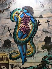 Wholesome Church-Oriented Entertainment (dogwelder) Tags: california carnival graveyard festival spring snake april zurbulon6 2007 northhollywood zurbulon bluewoman gatturphy stcharlesborromeochurch
