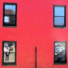 Who's In The Window (ShacklefordPhotoArt) Tags: red reflection window water docks portland warf waterfront maine brickwall seaport