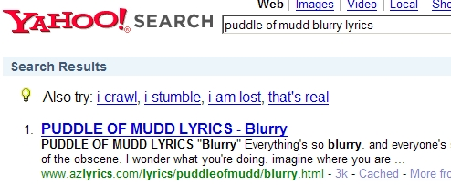 "Puddle of Mudd - ""Blurry"" Song Lyrics Search (Yahoo!)"