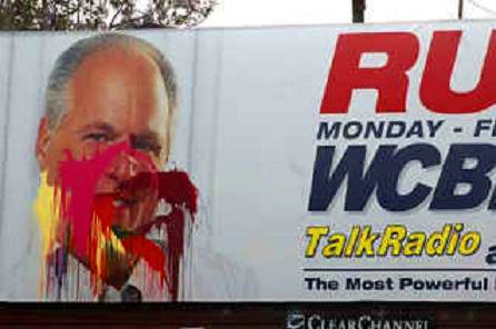 Vandalized billboard of Rush Limbaugh
