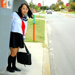 Waiting 4 bus 2 (Teafor2) Tags: school uniform cosplay outdoor busstop alterego schoolgirl schuluniform pipmay