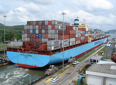Mathilde Mrsk (jpmartineau) Tags: canal ship container locks panama mathilde maersk miaflores jponrails