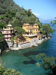 Portofino Cliff Houses (Josh Clark) Tags: italy water mediterranean turquoise portofino