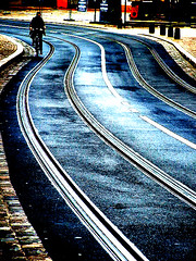 curving cycle ( Peter & Ute Grahlmann ) Tags: street blue red art lines photoshop germany railway cycle curve 1001nights mainz coolest fahrrad bycicle wow1 wow2 wow3 wow4 supershot 100faves amazingtalent wow5 wowhalloffame flickrsbest