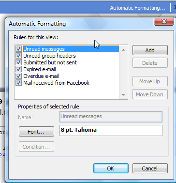 Automatic formatting of email using outlook