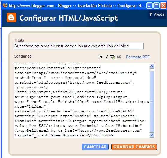 feedburner 15 pegar html