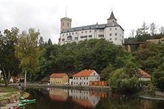 Last View of Rožmberk Castle (smilla4) Tags: rozmberkcastle buildings architecture vltavariver moldau reflections rozmberknadvltavou czechrepublic