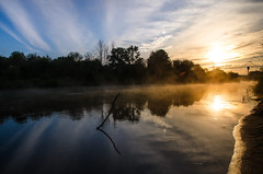 The misty sunrise at the river (YuTrof) Tags: russia air bank blue bushes calm clear cloudsoutdoor dawn fog mist misty morning nature river shore sky summer sun sunrise twilight water
