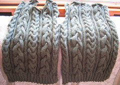 VK cabled sweater front and back