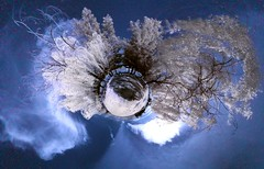 Planet Goose Pond Infrared (2) (Josh Sommers) Tags: panorama geese pond ducks projection infrared allrightsreserved falsecolor stereographic rohnertpark nodalninja weekendamerica copyrightjoshsommers2007