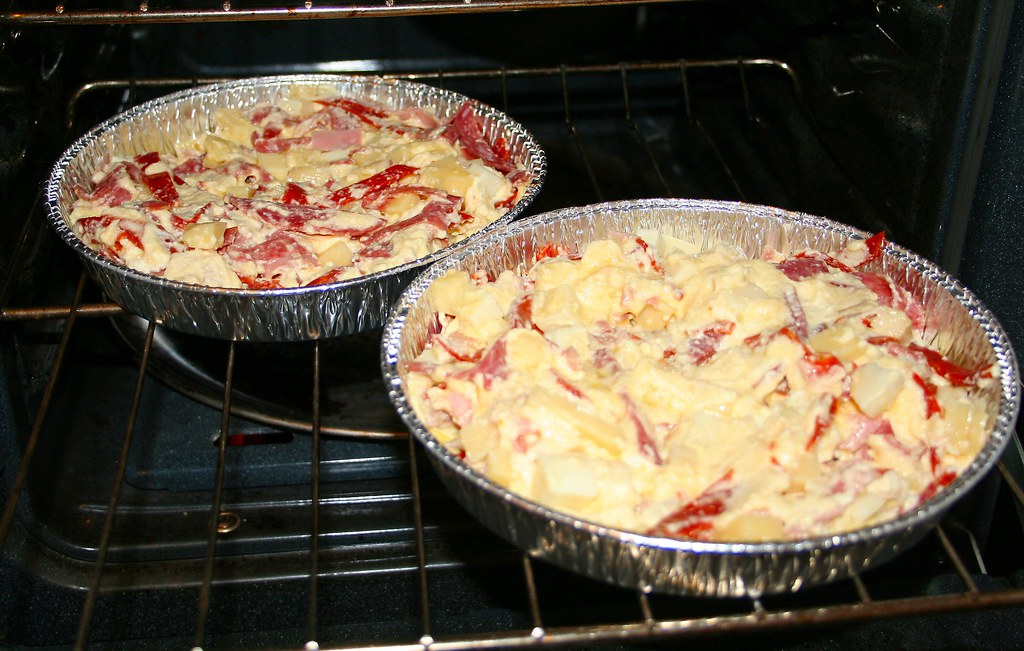 Pour into pie pans