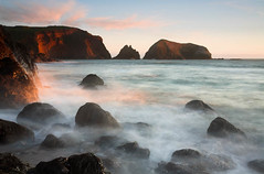 Rodeo Beach Golden Mist (Buck Forester) Tags: ocean california longexposure beach canon coast pacific shoreline pacificocean 5d rodeobeach