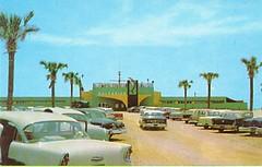 Gulfarium at Fort Walton Beach, Florida 1950/60's  Postcard (stevesobczuk) Tags: old cars cool dolphin 1950s sharks rays 1960s skates fortwaltonbeach gulfarium dolphinshow thelivingsea us98 bottlennose