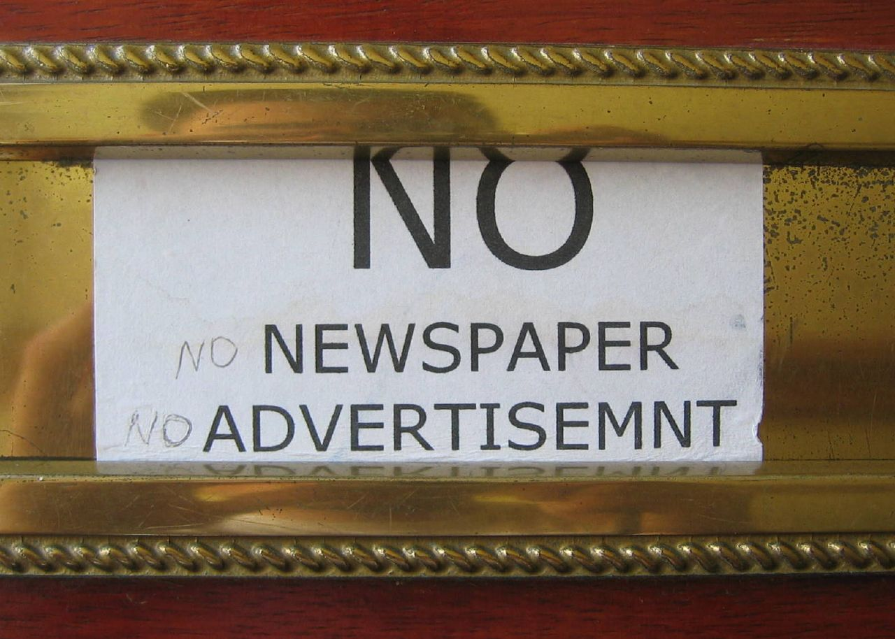 No to Junk Mail, NO Newspaper, No Advertisement
