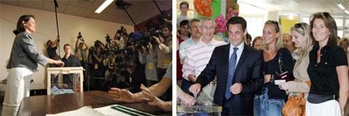 Sarkozy y Royal votando