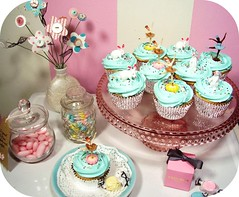 ballerinas & bunnies cupcakes (holiday_jenny) Tags: ballet bunnies kitchen cake vintage easter baking sweet plastic rabbits toppers picks frosting ballerinas top20blue
