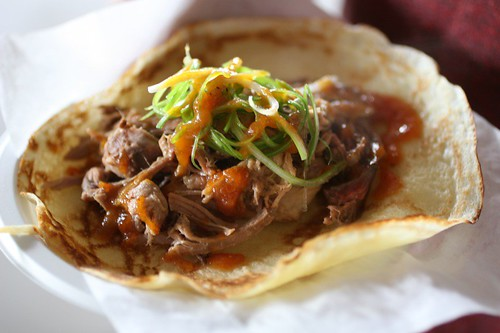 Five Seasons Brewing: Cracklin' Scallion Sequatchie Cove Farm Whole Ossabaw Hog Crepe in a regional BBQ sauce.