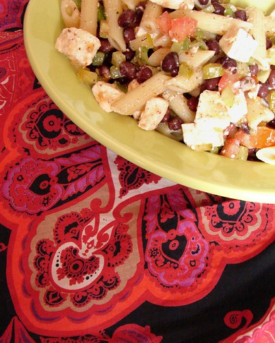 Feta, black bean & penne pasta salad..