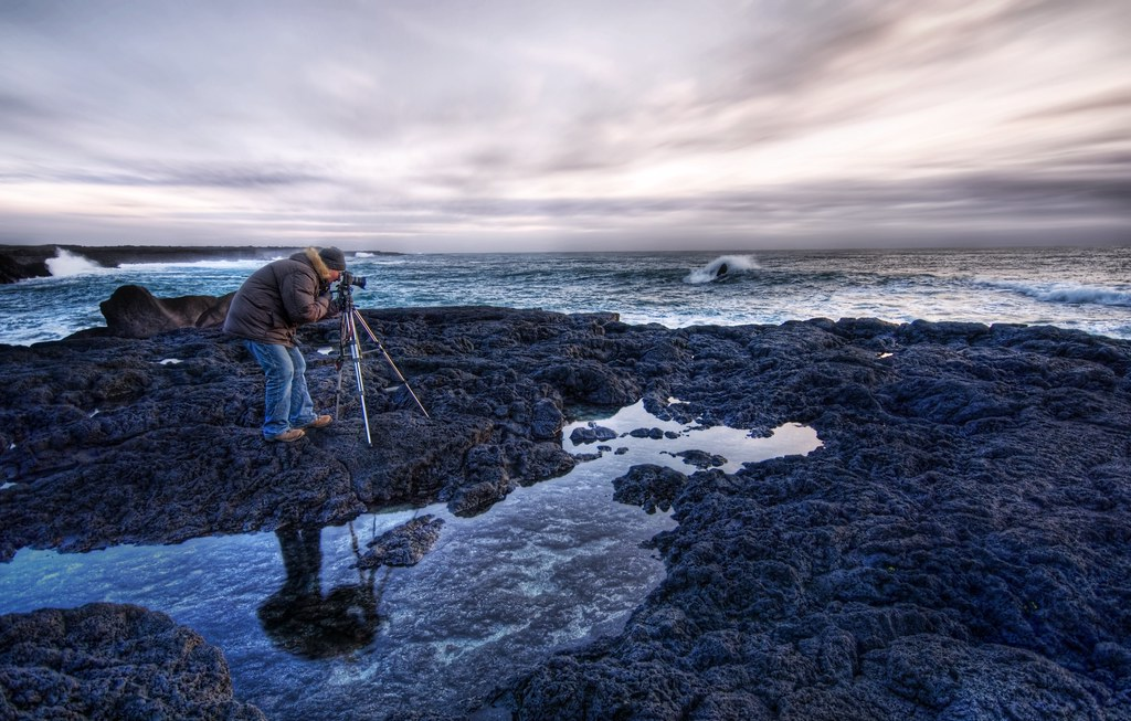 Asmundur at his Craft in Iceland at Sunset