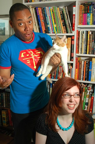 Cartoonist/cat goofballs: Masheka, Riley, Mikhaela