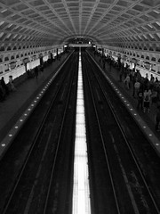 Metrorail Stop (Carl_C) Tags: people blackandwhite underground subway lights washingtondc metrorail dcmetro wmata galleryplacechinatown metrosystem 10faves ci33 superaplus aplusphoto superhearts