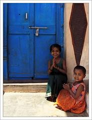 Clap Your Hands... (Christian Lagat) Tags: blue portrait india girl children geotagged women karnataka grdigital enfant fille inde badami भारत ricohgrd 50millionmissing
