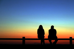 Couple enjoying the Sunset (j0rune) Tags: sunset sky people couple shadows montreal bodylanguage lampion wowiekazowie degrad
