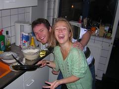 Evanne making pancakes