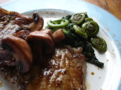 n.y. strip, mushrooms, fiddleheads, ramps