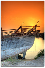 Sunset at the old port (Hussain Shah.) Tags: sea port d50 boat wooden nikon ship kuwait 1855mm nikkor hdr doha  photomatix superhearts