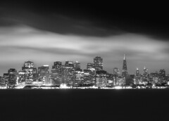 SF & Fog from Treasure Island (Rob Kroenert) Tags: sanfrancisco california bw usa white black building ferry skyline night island bay san francisco long exposure downtown treasure treasureisland pyramid transamerica sfchronicle 96hrs sfchronicle96hrs