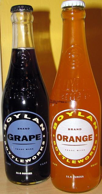 Boylan Grape and Orange soda bottles
