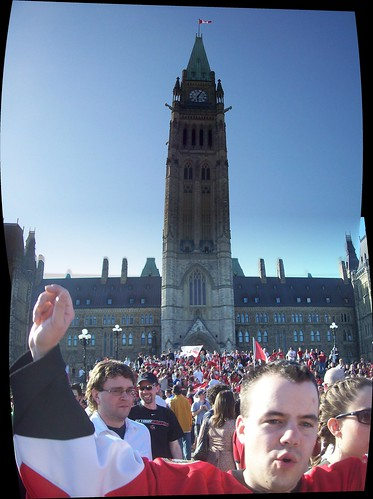 Ottawa Senators fans party on Parliament Hill.