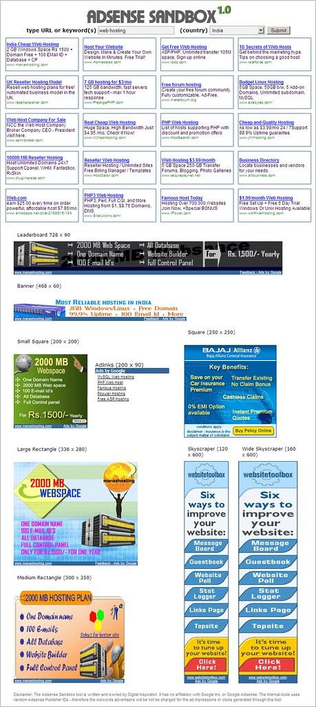 Google AdSense SandBox
