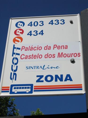 辛特拉的公車站牌