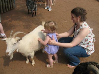 Meg Pets a Goat
