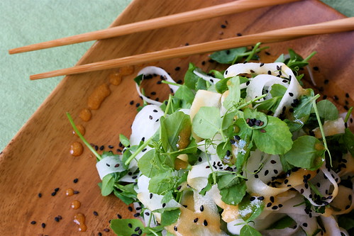 Pea Tendril and Daikon Noodle Salad with Sesame Soy Dressing