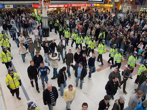 Police corridor for football supporters, London Victoria Station, 31 March 2007