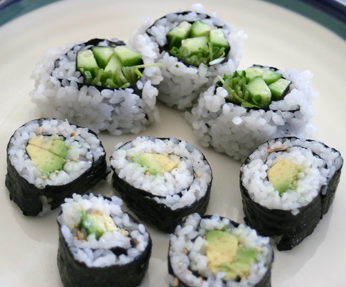 Sushi: Cucumber And Avocado Rolls